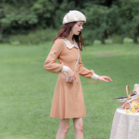 Dress Spring 2021 khaki XS,S,M,L Short skirt singleton  Long sleeves commute Doll Collar High waist Solid color Socket A-line skirt routine Others 18-24 years old Type A Allyn tune / Arlene's Retro Button More than 95% knitting polyester fiber