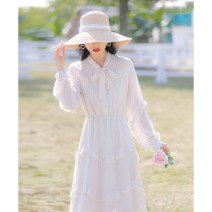 Dress Spring 2021 Apricot XS,S,M,L Mid length dress singleton  Long sleeves commute V-neck High waist Solid color Socket A-line skirt bishop sleeve Others 18-24 years old Type A Allyn tune / Arlene's literature Bow, Ruffle More than 95% Chiffon other