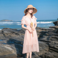 Dress Summer 2021 Pink XS,S,M,L longuette singleton  Short sleeve commute V-neck High waist Dot zipper Big swing other Others 18-24 years old Type A Allyn tune / Arlene's Retro Ruffles, buttons, zippers A0073 More than 95% Chiffon other