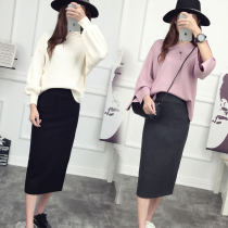skirt Winter of 2018 Customized XS S M L XL 2XL 3XL If you need a model coat, you can contact customer service, black and dark gray Mid length dress Versatile High waist High waist skirt Solid color 18-24 years old 81% (inclusive) - 90% (inclusive) Wool Cashmere
