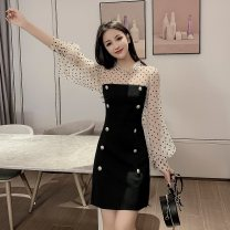 Dress Autumn of 2019 black S,M,L,XL Mid length dress singleton  Long sleeves commute stand collar High waist Dot double-breasted A-line skirt bishop sleeve Type A Korean version