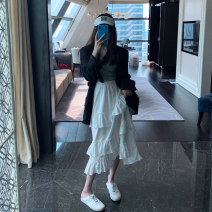 skirt Spring 2021 S,M,L,XL white longuette Versatile High waist Pleated skirt Solid color Type A 18-24 years old More than 95% other polyester fiber
