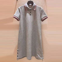 Dress Summer 2021 Two, three, four, five longuette singleton  Short sleeve Polo collar Solid color Single breasted Princess Dress other Type H Button 71% (inclusive) - 80% (inclusive) brocade cotton