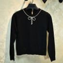 Wool knitwear Spring 2020 S,M,L,XL Black, white, pink Long sleeves singleton  Socket other 31% (inclusive) - 50% (inclusive) Regular routine commute Self cultivation Low crew neck routine Solid color A button Simplicity 25-29 years old Bows, beads