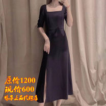 Dress Summer 2021 Navy, decor, black 2 = s, 3 = m, 4 = L, 5 = XL longuette singleton  Sleeveless commute One word collar middle-waisted Decor Socket other routine Others Type A Brother amashi Ol style Women's high end luxury brand 5500406-2062812-001 91% (inclusive) - 95% (inclusive) Chiffon other