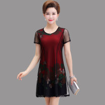 Middle aged and old women's wear Summer of 2019 fashion Dress Self cultivation singleton  Decor 40-49 years old Socket moderate Crew neck Medium length routine Lace, polyester Medium length other