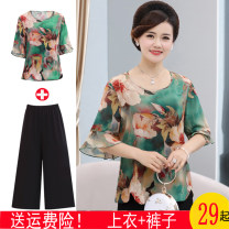 Middle aged and old women's wear Summer of 2019 Top red, top green, red + wide leg pants, green + wide leg pants, red + Black Capris, green + Black Capris, red + white Capris, green + white Capris fashion suit easy Two piece set Flower and bird pattern 40-49 years old Socket moderate Crew neck