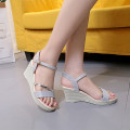 Sandals 35 36 37 38 39 Silver and pink Other / other PU Barefoot Slope heel High heel (5-8cm) Summer of 2018 Flat buckle Korean version Solid color PU