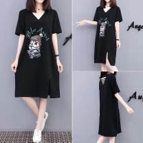 Dress Summer 2021 black S,M,L,XL,2XL Mid length dress singleton  Short sleeve commute V-neck Solid color Socket other routine Others 18-24 years old Korean version Holes, open backs, prints More than 95% other other
