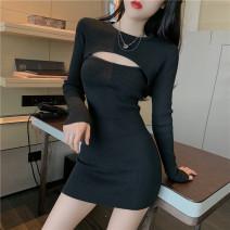 Dress Spring 2021 black Average size Short skirt singleton  Long sleeves commute High waist Solid color Socket 18-24 years old