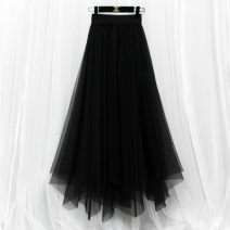 skirt Summer 2021 S,M,L,XL,2XL,3XL,4XL,5XL Black, apricot, coffee, black short, black outside and white inside, star Sequin, black blue, pure white, 2 layers of yarn with bright silk lining longuette Versatile High waist Irregular Solid color Type A Other / other Fold, asymmetry, mesh, stitching