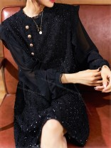 Women's large Spring 2021, autumn 2021 black Large XL, large XXL, large XXL, large XXXXL, large L, large M Dress singleton  commute easy moderate Long sleeves Solid color Crew neck polyester Three dimensional cutting ymq Plain wood 35-39 years old Three dimensional decoration Medium length