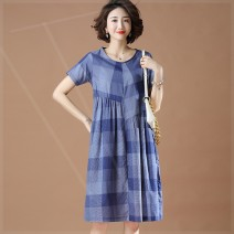 Women's large Summer 2021 blue Large XL, large XXL, large XXL, large XXXXL, large XXXXL, large L Dress singleton  commute easy moderate Socket Short sleeve lattice Crew neck polyester Three dimensional cutting routine 7bp Plain wood 35-39 years old 81% (inclusive) - 90% (inclusive) longuette