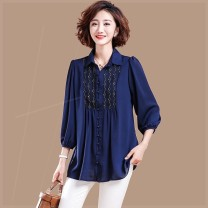 Women's large Autumn 2020 Blue, red, black Large XL, large XXL, large XXL, large L shirt singleton  commute easy moderate Cardigan Long sleeves Solid color square neck routine polyester Three dimensional cutting routine n9p Plain wood 35-39 years old Embroidery 71% (inclusive) - 80% (inclusive)