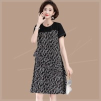 Women's large Summer 2020 black Large XL, large XXL, large XXL, large XXXXL, large L, large M Dress singleton  commute easy moderate Socket Short sleeve Crew neck Polyester, cotton Three dimensional cutting routine 9hy Plain wood 35-39 years old Three dimensional decoration Medium length