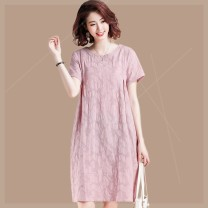 Women's large Summer 2020 Picture color Big XL, big XXL, big XXXXL, big XXXXL, big L, big M Dress singleton  commute easy moderate Socket Short sleeve Solid color Crew neck Cotton, hemp Three dimensional cutting routine v5e Plain wood 35-39 years old 81% (inclusive) - 90% (inclusive) Medium length
