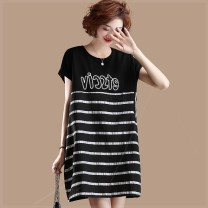 Women's large Summer of 2019 black Large XL, large XXL, large XXL, large XXXXL, large L, large M Dress singleton  commute easy moderate Socket Short sleeve stripe cotton Three dimensional cutting 6hz Plain wood 81% (inclusive) - 90% (inclusive) Medium length