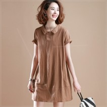 Women's large Summer 2021 Khaki, black Large XL, large XXL, large XXL, large XXXXL, large L, large M Dress singleton  commute easy moderate Socket Short sleeve Solid color other Cotton, hemp Three dimensional cutting routine ijb Plain wood 35-39 years old pocket 81% (inclusive) - 90% (inclusive)
