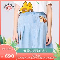 skirt Spring 2021 S/36 M/38 L/40 blue Short skirt commute High waist A-line skirt Solid color Type A 18-24 years old PK11DE029A More than 95% Denim tanni cotton Embroidery Britain Cotton 100% Same model in shopping mall (sold online and offline)