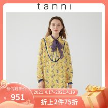 Dress Autumn 2020 yellow 160/36 165/38 170/40 Middle-skirt 25-29 years old tanni TJ11DR309A More than 95% polyester fiber Polyester 100% Same model in shopping mall (sold online and offline)