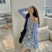 Fashion suit Summer 2021 M [80-90 Jin], l [90-110 Jin], XL [110-125 Jin], 2XL [125-150 Jin], 3XL [150-175 Jin], 4XL [175-190 Jin] Apricot top, apricot suspender skirt, blue top, blue suspender skirt 18-25 years old Other / other