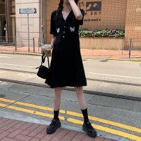 Women's large Summer 2020 Black skirt M [85-100 Jin], l [100-115 Jin], XL [115-130 Jin], 2XL [130-150 Jin], 3XL [150-175 Jin], 4XL [175-200 Jin] Dress singleton  commute easy moderate Socket Short sleeve Korean version routine 18-24 years old 96% and above Medium length