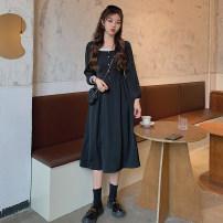 Women's large Autumn 2020 black Large L, large XL, large 2XL, large 3XL, large 4XL Dress singleton  Socket Long sleeves