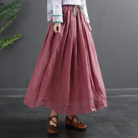 skirt Spring 2021 Average size Black red rose red rice white blue (30 days in advance) Mid length dress Versatile Natural waist Solid color Type A 35-39 years old TQ754 More than 95% Flying Swallow hemp Pocket tie Flax 100%