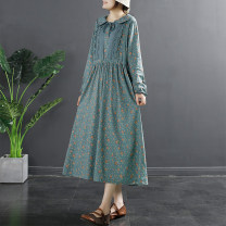 Dress Spring 2021 Pink light green blue Average size Mid length dress singleton  Long sleeves commute Doll Collar Loose waist Decor Socket A-line skirt other Others 30-34 years old Type A Flying Swallow literature Cut out pocket lace up print TQ769 31% (inclusive) - 50% (inclusive) other cotton