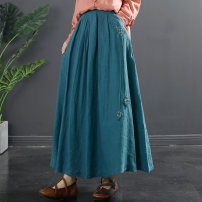 skirt Spring 2021 Average size Blue Orange Black autumn fragrance green purple (pre-sale 10 days) longuette commute Natural waist A-line skirt Solid color Type A 35-39 years old TQ759 More than 95% Flying Swallow hemp Tassel embroidered pocket literature Flax 100% Pure e-commerce (online only)