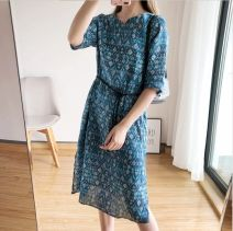 Dress Summer 2020 Picture color S,M,L,XL Middle-skirt singleton  elbow sleeve street middle-waisted Decor Socket A-line skirt routine Others Type A Bowknot, pocket, lace up, stitching More than 95% hemp Europe and America