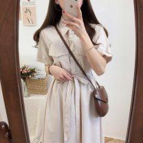 Dress Summer 2020 Apricot, blue S,M,L,XL Miniskirt singleton  Short sleeve commute Polo collar Others Korean version