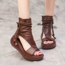 Sandals 35,36,37,38,39,40 Black, brown PU Other / other Fish mouth Muffin bottom High heel (5-8cm) Spring 2021 zipper leisure time Solid color Adhesive shoes Middle aged (40-60 years old), young (18-40 years old) rubber daily Bag heel Roman style Gao Bang Lateral space PU PU Roman shoes Shaving