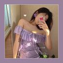 Dress Spring 2021 Soft purple S, M Short skirt singleton  Short sleeve commute One word collar High waist Solid color Socket A-line skirt routine camisole 18-24 years old Type A Lotus leaf edge polyester fiber