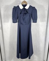 Dress Summer 2021 blue S,M,L longuette singleton  Short sleeve street Polo collar High waist zipper A-line skirt puff sleeve 25-29 years old Splicing , bow , Frenulum , Hollow out More than 95% cotton Europe and America