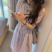 Dress Summer 2021 S,M,L,XL Mid length dress singleton  Short sleeve Crew neck Loose waist Broken flowers Socket Big swing routine Others Type A Button, print More than 95% other