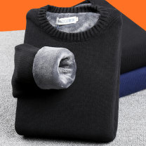 T-shirt / sweater Youth fashion 170/M,175/L,180/XL,185/XXL,190/3XL,195/4XL thickening Socket Crew neck Long sleeves winter Slim fit 2020 Cotton 100% leisure time Youthful vigor youth routine Solid color washing Coarse wool (8, 6) Pure cotton (95% above) Solid color