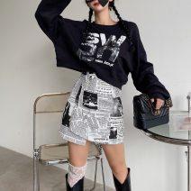 skirt Autumn 2020 S,M,L white Short skirt commute High waist Irregular Abstract pattern 18-24 years old Korean version