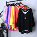 T-shirt Sapphire blue, black, yellow, white, green, light green, light pink, red, orange Big size average Spring 2020 Long sleeves V-neck easy Medium length routine commute cotton 71% (inclusive) - 85% (inclusive) Simplicity originality Solid color