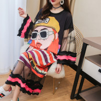 Women's large Summer 2020 Black, white Large XL, large XXL, large XXL, large L, large M, collection baby presents Dress singleton  commute easy thin Socket Long sleeves Cartoon animation Korean version Crew neck cotton printing and dyeing puff sleeve 18-24 years old Gauze longuette other