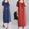 Dress Summer of 2019 Blue, dark green, rust red M [recommended 95-110 kg], l [recommended 110-125 kg], XL [recommended 125-140 kg], 2XL [recommended 140-160 kg] longuette singleton  Short sleeve commute Crew neck Loose waist literature 8850# 81% (inclusive) - 90% (inclusive) cotton