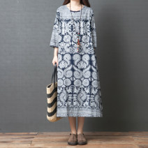 Dress Summer 2021 Picture color M [100-115 kg], l [116-130 kg], XL [131-145 kg], XXL [146-160 kg] longuette Long sleeves commute Crew neck Loose waist A-line skirt Type A Pocket, print
