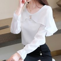 Lace / Chiffon Autumn of 2019 White, red, green, black skirt S,M,L,XL,2XL Long sleeves Versatile Socket singleton  easy Super short V-neck Solid color Other / other 9003#