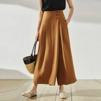 Casual pants Black, Khaki S,XL,L,M Spring 2021 trousers Wide leg pants High waist Other styles routine 25-29 years old 71% (inclusive) - 80% (inclusive) Dolphail / dufei nylon belt