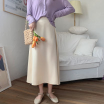 skirt Spring 2021 Average size Apricot , violet , yellow , black , Collection Plus purchase priority delivery Mid length dress commute High waist A-line skirt Solid color Type A 18-24 years old 51% (inclusive) - 70% (inclusive) Korean version
