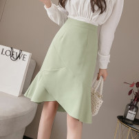 skirt Spring 2021 S,M,L,XL,2XL Black, apricot, green Middle-skirt commute High waist Ruffle Skirt Solid color Type A 25-29 years old ///WX5115 71% (inclusive) - 80% (inclusive) other Ruffle, asymmetric, zipper Korean version