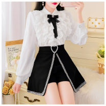 Fashion suit Spring 2021 S,M,L White top + black skirt 18-25 years old Other / other polyester fiber