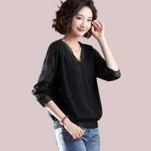 Women's large Spring 2021, summer 2021, autumn 2021 black Large L, large XL, 2XL, 3XL, 4XL, 5XL T-shirt singleton  commute easy moderate Socket Long sleeves Solid color Korean version V-neck routine polyester Three dimensional cutting routine 30-34 years old Lace stitching 96% and above Hollowing out