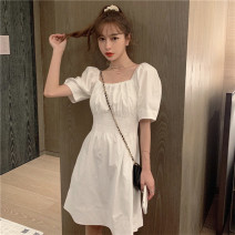 Dress Summer 2020 White, purple Average size Short skirt singleton  Short sleeve commute square neck Elastic waist Solid color Socket A-line skirt puff sleeve 18-24 years old Type A Korean version CocoLi 30% and below other other