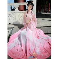 Hanfu 96% and above Spring of 2019 Light pink boudoir drape, white boudoir drape, light pink silk suspender bra, white silk suspender bra, and one piece pleated skirt S spot, m spot, l spot, XL spot, s pre-sale, m pre-sale, l pre-sale, XL pre-sale polyester fiber